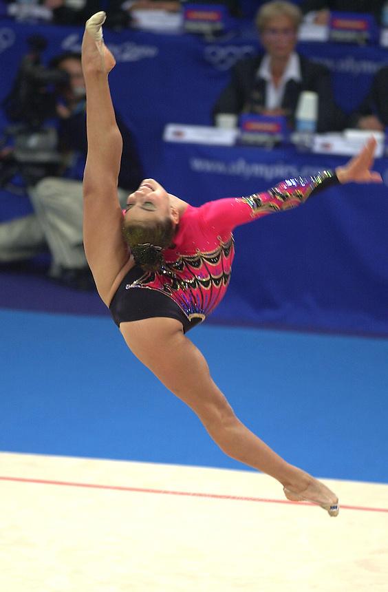 Oct 01, 2000; Sydney, Australia:<br /> ALINA KABAEVA Russia performs ball during rhythmic gymnastics final at 2000 Summer Olympics. Alina took bronze medal in the all around.
