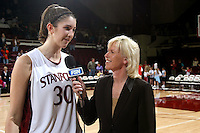 10 February 2007: Stanford Cardinal Brooke Smith and FSN (Fox Sports Net) television color commentator Tracy Warren during Stanford's 80-54 win against the Washington Huskies at Maples Pavilion in Stanford, CA.