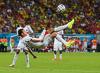 Giancarlo Gonzalez of Costa Rica tries an overhead kick shot on goal