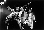 Mick Jagger & Ronnie Wood of The Rolling Stones, London, UK, 1976. Earls Court concert.