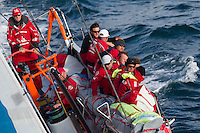 FRANCE,  Point Penmarc'h. 1st July 2012. Volvo Ocean Race, Leg 9 Lorient-Galway. Team Sanya. Cameron Dunn, Watchleader at the helm.