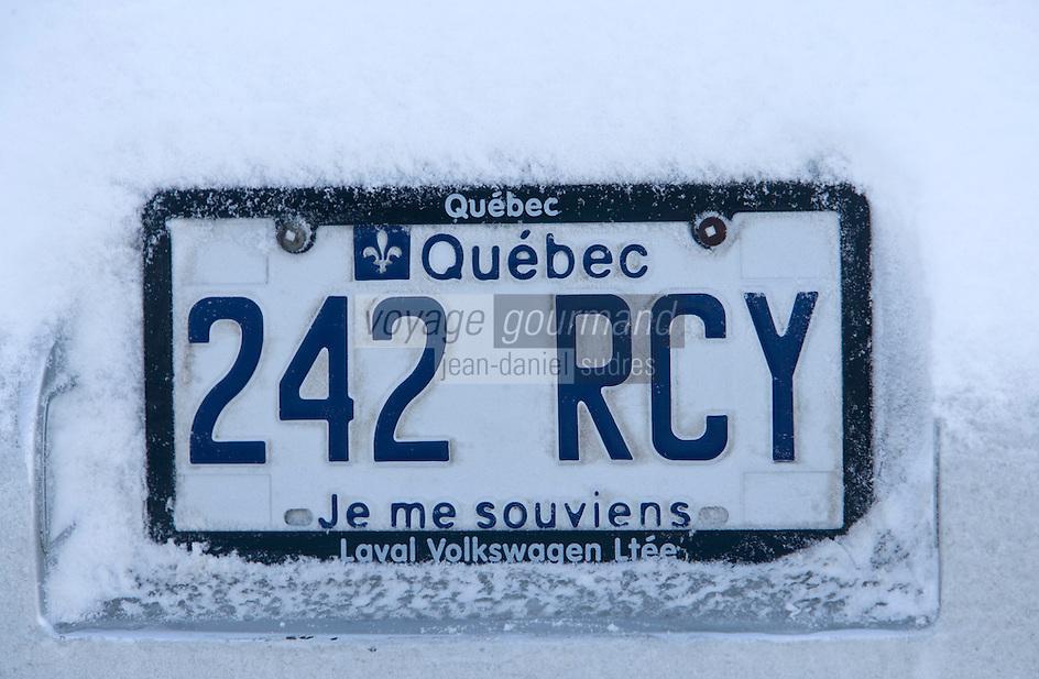 Amérique/Amérique du Nord/Canada/Québec/ Québec: PLaque d'immatriculation d'une voiture