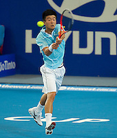 WU DI (CHN) against FERNANDO VERDASCO (ESP) in the group stage of the Hopman Cup. Spain beat China 6-3 6-4 ..03/01/2012, 3rd January 2012, 03.01.2012..The HOPMAN CUP, Burswood Dome, Perth, Western Australia, Australia.@AMN IMAGES, Frey, Advantage Media Network, 30, Cleveland Street, London, W1T 4JD .Tel - +44 208 947 0100..email - mfrey@advantagemedianet.com..www.amnimages.photoshelter.com.
