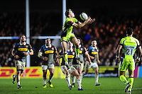 Mike Haley of Sale Sharks claims the ball in the air. Aviva Premiership match, between Harlequins and Sale Sharks on January 7, 2017 at the Twickenham Stoop in London, England. Photo by: Patrick Khachfe / JMP