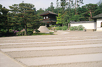 The raked gravel at Ginkaku-ji, also known as the Silver Pavillion, is a thick layer made to represent the sea.