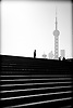 china, shangai.Stairs and the financial district ©: vicens gimenez.