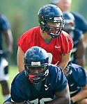 Quarterback Jeremiah Masoli calls out the signals as the University of Mississippi began football practice on Sunday, August 8, 2010 in Oxford, Miss. (AP Photo/Oxford Eagle, Bruce Newman).