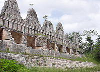 Palomar, pigeon house, dove-cots, topped with openwork stone crown, Puuc architecture, Uxmal late classical Mayan site, flourished between 600-900 AD, Yucatan, Mexico Picture by Manuel Cohen