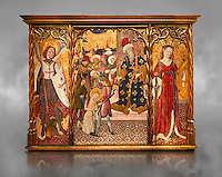 Gothic altarpiece depicting left to right - the Archangel Gabriel, the martyrdom of Santa Eulalia and St Caterina, by Bernat Martorell, circa 1442-1445, Temperal and gold leaf on wood.  National Museum of Catalan Art, Barcelona, Spain, inv no: MNAC  1442. Against a grey textured background.
