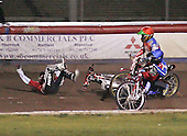 Heat 3 - Iversen falls as Kasprzak (red) and Lanham (blue) take evasive action - Lakeside Hammers vs Peterborough Panthers - Sky Sports Elite League at Arena Essex, Purfleet - 31/08/07  - MANDATORY CREDIT: Gavin Ellis/TGSPHOTO - SELF-BILLING APPLIES WHERE APPROPRIATE. NO UNPAID USE. TEL: 0845 094 6026..