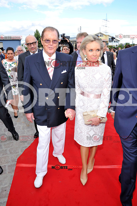 Roger Moore and wife Kristina Tholstrup attending the opening of Hotel Bell Rock at Europapark in Rust, Germany, 12.07.2012...Credit: Tim Morris/face to face /MediaPunch Inc. ***FOR USA ONLY*** ***Online Only for USA Weekly Print Magazines*** /*NORTEPHOTO*<br />