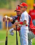 1 March 2009: St. Louis Cardinals' first baseman Albert Pujols watches batting practice with his son, A.J. Alberto, Jr., prior to a Spring Training game against the Florida Marlins at Roger Dean Stadium in Jupiter, Florida. The Cardinals outhit the Marlins 20-13 resulting in a 14-10 win for the Cards. Mandatory Photo Credit: Ed Wolfstein Photo