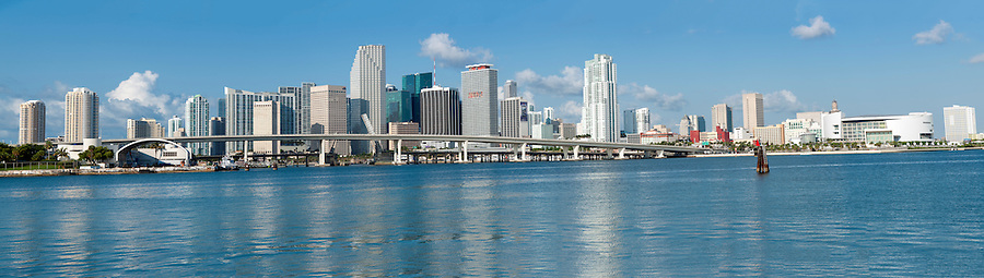 MIAMI - MAY 22: Panoramic view of Miami downtown skyline on May 22, 2011. Miami is a popular tourist destination, the beaches festivals and events draw over 38 million visitors annually into the city