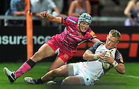Jake Abbott scores a try. J.P. Morgan Premiership Rugby 7s match, between Exeter Chiefs and Worcester Warriors on July 27, 2012 at Kingsholm Stadium in Gloucester, England. Photo by: Patrick Khachfe / Onside Images
