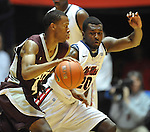 Mississippi State's Rodney Hood (4) drives on Mississippi's Nick Williams (20) at the C.M. &quot;Tad&quot; Smith Coliseum in Oxford, Miss. on Wednesday, January 18, 2012. (AP Photo/Oxford Eagle, Bruce Newman).