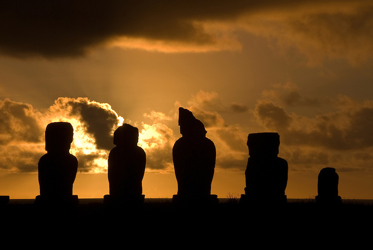 Chile, Easter Island: Statues or moai at the platform of ahu known as Ahu Tahai near the town of Hanga Roa. .Photo #: ch203-32620.Photo copyright Lee Foster www.fostertravel.com lee@fostertravel.com 510-549-2202