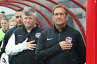 Piscataway, NJ - Saturday May 20, 2017: Tom, Brown, Randy Waldrum prior to a regular season National Women's Soccer League (NWSL) match between Sky Blue FC and the Houston Dash at Yurcak Field.  Sky Blue defeated Houston, 2-1.