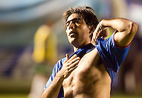 Cruz Azul forward Cesar Delgado celebrates his second goal scored against Laguna Santos during their soccer match at the Blue Stadium in Mexico City, March 15, 2006. Cruz Azul won 4-1 to Laguna Santos. © Photo by Javier Rodriguez