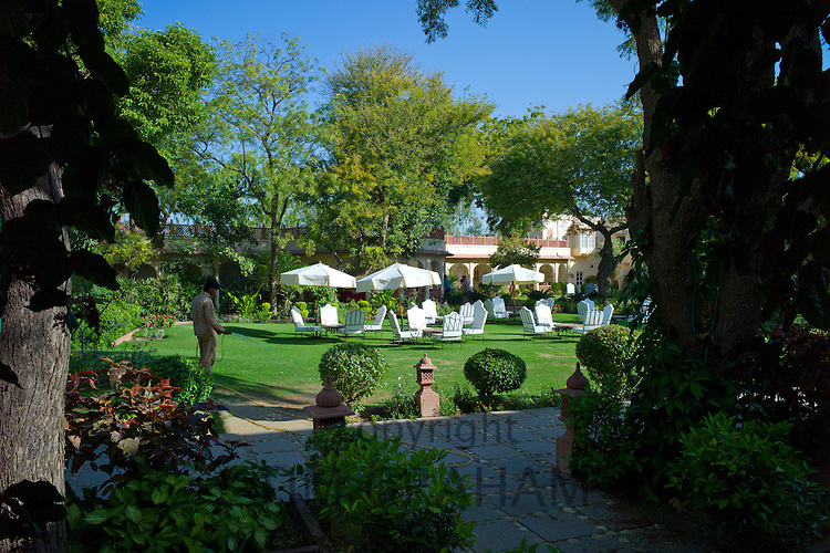 Rohet Garh fortress palace hotel garden and terrace Rohet, Rajasthan, India