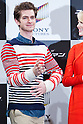 "June 13, 2012, Tokyo, Japan - Actor Andrew Garfield reacts during the press conference for the film ""The Amazing Spider-Man."" The movie will be released in Japanese theaters on June 30, 2012. (Photo by Christopher Jue/Nippon News)"