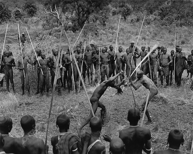 """Donga"" stick fighting, Surma tribe, Omo Valley, southern Ethiopia, 2003-2004"