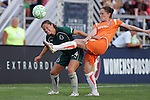 19 August 2009:  Jen Buczkowski (4) of Sky Blue FC beats Kendall Fletcher (left) of Saint Louis Athletica to a loose ball.  Saint Louis Athletica was defeated by the visiting Sky Blue FC 0-1 in the post season Super Semifinal Women's Professional  Soccer game at Anheuser-Busch Soccer Park, in Fenton, MO.