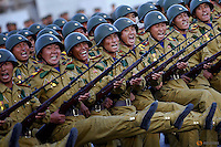 Soldiers shout slogans as they march past a stand with North Korean leader Kim Jong Un during the parade celebrating the 70th anniversary of the founding of the ruling Workers' Party of Korea, in Pyongyang October 10, 2015. Isolated North Korea marked the 70th anniversary of its ruling Workers' Party on Saturday with a massive military parade overseen by leader Kim Jong Un, who said his country was ready to fight any war waged by the United States.   REUTERS/Damir Sagolj