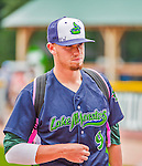 9 July 2015: Vermont Lake Monsters pitcher Cody Kurz walks outside the dugout prior to a game against the Mahoning Valley Scrappers at Centennial Field in Burlington, Vermont. The Lake Monsters rallied to tie the game 4-4 in the bottom of the 9th, but fell to the Scrappers 8-4 in 12 innings of NY Penn League play. Mandatory Credit: Ed Wolfstein Photo *** RAW Image File Available ****