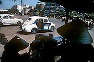 In Ho Chi Minh City, Saigon, February 1988. Tipical taxi stand in Saigon using old French Renault cars.