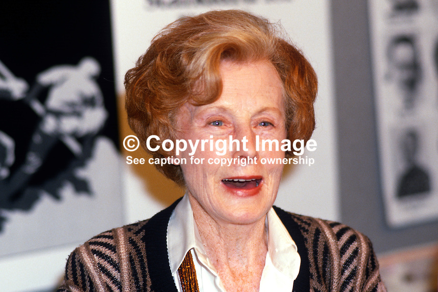 Barbara Castle, MEP, Labour Party, UK, 19870940BC1..Copyright Image from Victor Patterson, 54 Dorchester Park, Belfast, UK, BT9 6RJ..Tel: +44 28 9066 1296.Mob: +44 7802 353836.Voicemail +44 20 8816 7153.Skype: victorpattersonbelfast.Email: victorpatterson@me.com.Email: victorpatterson@ireland.com (back-up)..IMPORTANT: If you wish to use this image or any other of my images please go to www.victorpatterson.com and click on the Terms & Conditions. Then contact me by email or phone with the reference number(s) of the image(s) concerned.