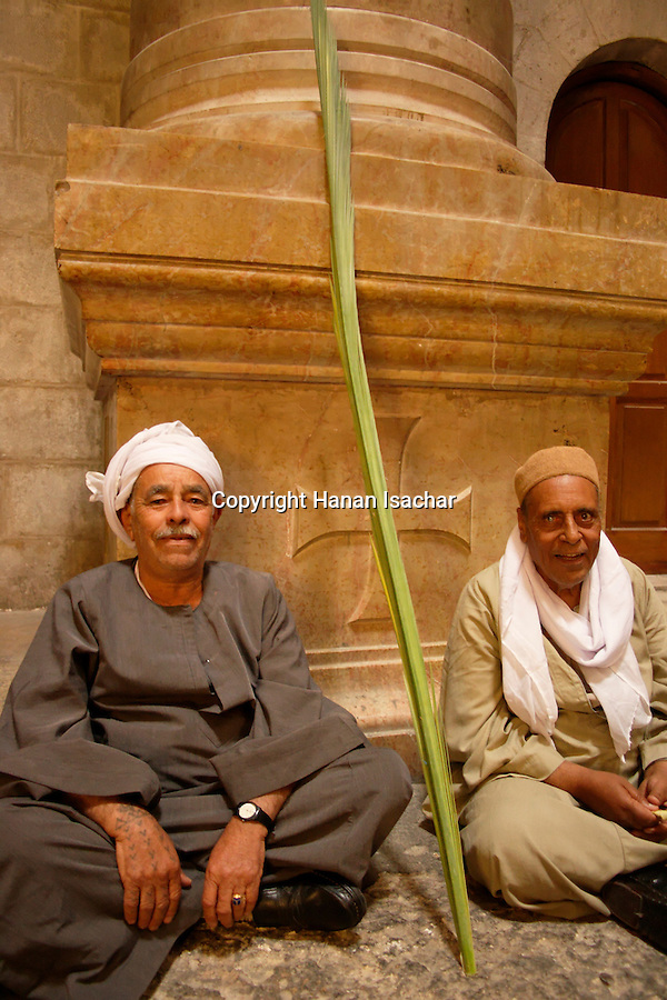 Israel, Jerusalem Old City, Egyptian Coptic pilgrims at the Church of the Holy Sepulchre on Palm Sunday, Easter, 2005<br />