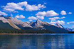 Afternoon light on Mount Sampson from the shore of Maligne Lake, Jasper National Park, Alberta, Canada.