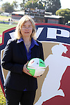 26 September 2010: Incoming WPS CEO Anne-Marie Eileraas during a ceremony held before the game. FC Gold Pride defeated the Philadelphia Independence 4-0 at Pioneer Stadium in Heyward, California in the Women's Professional Soccer championship game.