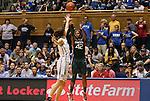 24 February 2012: Miami's Shenise Johnson (42) shoots over Duke's Allison Vernerey (FRA) (left). The Duke University Blue Devils defeated the University of Miami Hurricanes 74-64 at Cameron Indoor Stadium in Durham, North Carolina in an NCAA Division I Women's basketball game.
