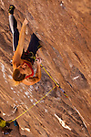 Rock climber Lisa Rands leads the route &quot;Black Hole&quot; rated 12b, in the Owens River Gorge,