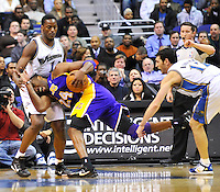 Kobe Bryant of the Lakers collides with Al Thornton of the Wizards. Los Angeles defeated Washington 103-89 at the Verizon Center in Washington, DC on Tuesday, December 14, 2010. Alan P. Santos/DC Sports Box