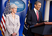 United States President Barack Obama makes a statement about rules requiring employers to provide contraceptions for employees as Kathleen Sebelius, Secretary of Health and Human Services, watches in the briefing room of the White House in Washington, DC, on February 10 2012. The compromise is directed at the concerns of religious organizations, who claim providing contraceptions violates their religious beliefs.  .Credit: Joshua Roberts / Pool via CNP
