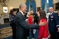President Barack Obama greets the 2016 Paralympians and Olympians in the Blue Room, Sept. 29, 2016, prior to an event to welcome the 2016 U.S. Olympic and Paralympic teams to the White House to honor their participation and success in the 2016 Olympic games in Rio de Janeiro, Brazil. (Official White House Photo by Lawrence Jackson)<br /> <br /> This photograph is provided by THE WHITE HOUSE as a courtesy and may be printed by the subject(s) in the photograph for personal use only. The photograph may not be manipulated in any way and may not otherwise be reproduced, disseminated or broadcast, without the written permission of the White House Photo Office. This photograph may not be used in any commercial or political materials, advertisements, emails, products, promotions that in any way suggests approval or endorsement of the President, the First Family, or the White House. These photographs are provided by THE WHITE HOUSE as a courtesy and may be printed by the subject(s) in the photograph for personal use only. These photographs may not be manipulated in any way and may not otherwise be reproduced, disseminated or broadcast, without the written permission of the White House Photo Office. These photographs may not be used in any commercial or political materials, advertisements, emails, products, promotions that in any way suggests approval or endorsement of the President, the First Family, or the White House.