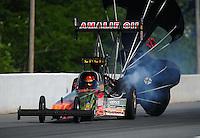 May 5, 2012; Commerce, GA, USA: NHRA top fuel dragster driver Terry McMillen during qualifying for the Southern Nationals at Atlanta Dragway. Mandatory Credit: Mark J. Rebilas-