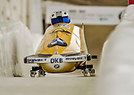 8 January 2016: Anja Schneiderheinze, piloting her 2-man bobsled for Germany, enters the Chicane straightaway on her first run, ending the day with a combined 2-run time of 1:54.49 and earning a 5th place finish at the BMW IBSF World Cup Championships at the Olympic Sports Track in Lake Placid, New York, USA. Mandatory Credit: Ed Wolfstein Photo *** RAW (NEF) Image File Available ***