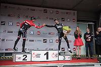 podium finishers Luke Row (GBR/Team Sky) &amp; Jasper Stuyven (BEL/Trek-Segafredo) congratulating each other on the podium<br /> <br /> 69th Kuurne-Brussel-Kuurne 2017 (1.HC)