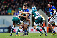 Mike Ellery of Saracens takes on the Leicester Tigers defence. Aviva Premiership match, between Leicester Tigers and Saracens on March 20, 2016 at Welford Road in Leicester, England. Photo by: Patrick Khachfe / JMP