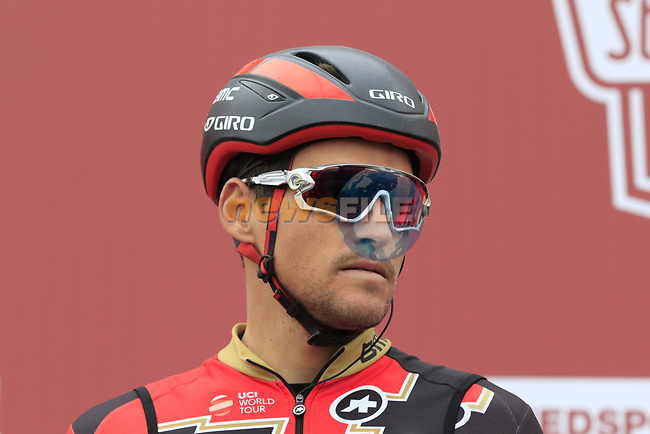 Greg Van Avermaet (BEL) BMC Racing Team at sign on before the start of the 2017 Strade Bianche running 175km from Siena to Siena, Tuscany, Italy 4th March 2017.<br /> Picture: Eoin Clarke | Newsfile<br /> <br /> <br /> All photos usage must carry mandatory copyright credit (&copy; Newsfile | Eoin Clarke)