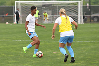 Piscataway, NJ - Saturday May 20, 2017: Maya Hayes, Madison Tiernan prior to a regular season National Women's Soccer League (NWSL) match between Sky Blue FC and the Houston Dash at Yurcak Field.  Sky Blue defeated Houston, 2-1.
