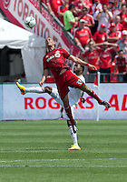 29 June 2013: Toronto FC midfielder Ryan Richter #33 and Real Salt Lake forward Robbie Findley #10 in action during an MLS game between Real Salt Lake and Toronto FC at BMO Field in Toronto, Ontario Canada.<br /> Real Salt Lake won 1-0.