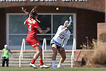 27 February 2016: North Carolina's Sammy Jo Tracy (13) and Maryland's Taylor Cummings (21) challenge a draw. The University of North Carolina Tar Heels hosted the University of Maryland Terrapins in a 2016 NCAA Division I Women's Lacrosse match. Maryland won the game 8-7.