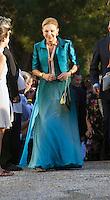Empress Farah Pahlavi of Iran attends The Wedding of Prince Nikolaos of Greece and Tatiana Blatnik at the monastery of Ayios Nikolaos on the Island of Spetses, Greece.