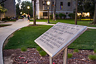 """April 23, 2017; Marker at the former site of """"Vetville"""" married student housing (Photo by Matt Cashore/University of Notre Dame)"""