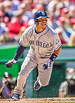27 April 2014: San Diego Padres outfielder Alexi Amarista in action against the Washington Nationals at Nationals Park in Washington, DC. The Padres defeated the Nationals 4-2 to to split their 4-game series. Mandatory Credit: Ed Wolfstein Photo *** RAW (NEF) Image File Available ***