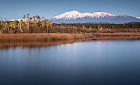 Blue light of twilight over Mount Adams of the Southern Alps and Okarito Lagoon, Westland Tai Poutini National Park, West Coast, UNESCO World Heritage Area, South Westland, New Zealand, NZ